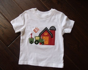 Boutique Boys On the Farm and Tractor Birthday shirt.  Sizes 12M to 14 Youth Long Sleeves or Short