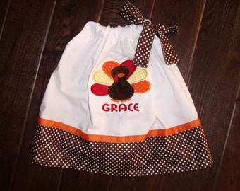 Boutique Thanksgiving Turkey Pillowcase Dress Sizes 3M to 5T Larger sizes upon request