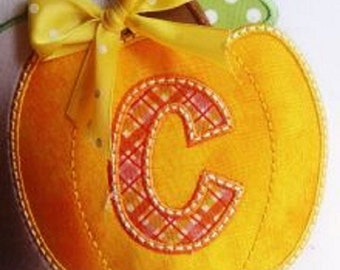 Boutique Boy or Girl Pumpkin with Initial Applique Sizes Newborn to 14 Youth Long Sleeves or Short