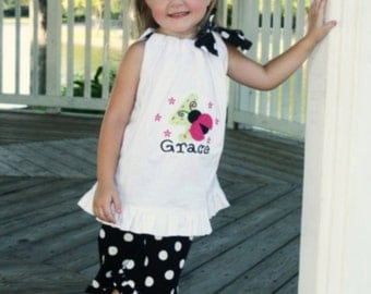 Personalized Birthday Ladybug or Bug Pillowcase Dress with Black Polka Dot Pants, Birthday outfit, Birthday Shirt, Embroidered Ladybug