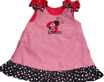 Boutique Ladybug Birthday Ruffle Dress Sizes 6M to 5T