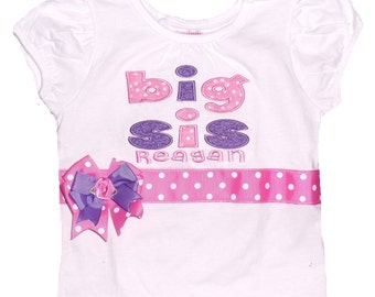 Boutique Big Sis shirt with Bow Size 6m to 14 youth