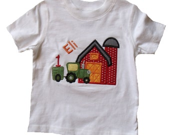 Boutique Birthday tractor with Barn shirt.  Sizes 6M to 14 Youth Long Sleeves or Short