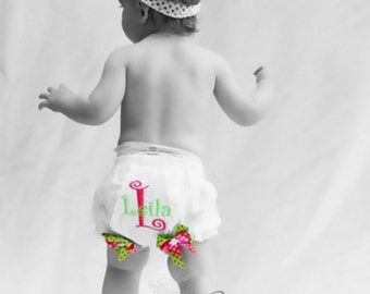 Monogrammed Bloomers, Newborn Bloomers, Baby Shower Bloomers, Birthday Bloomers, Cake Smash Bloomers