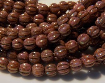 5mm Luster Opaque Rose Gold Topaz - Czech Pressed Fluted Melon Glass Beads, 25 PC (INCM349)