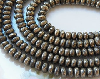 4x6mm A Grade Pyrite Rondelle Polished Gemstone Beads, 25 PC (INDOC696)