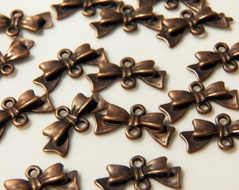 20x10mm Antique Copper Bow Connectors - Jewelry Finding Bowtie Charm Links, 6 PC (INDOC7)