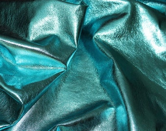 ITALIAN lambskin leather skin skins hide METALLIC TURQUOISE 7sqf