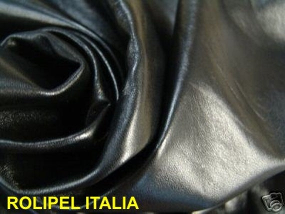 Italian lambskin leather skin hide soft PREMIUM JET BLACK 6sqf