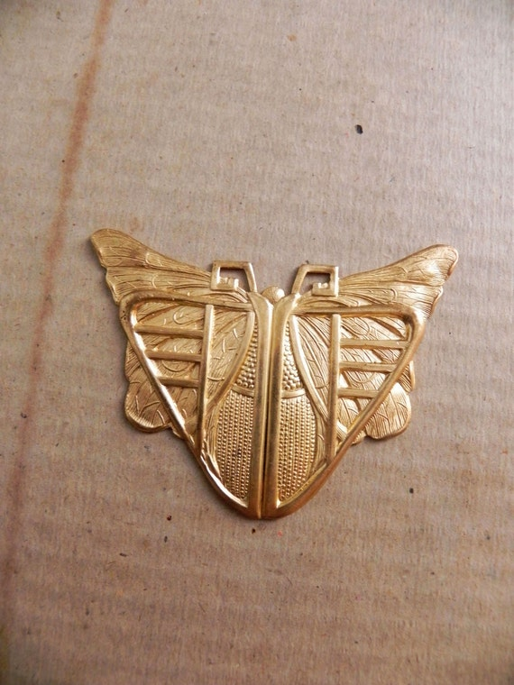 Large Egyptian. Art Deco. Butterfly. Scarab. Brass Jewelry Finding