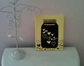 8 inch x 10 inch Yellow and Black Canvas Art - Super Cute Jar of Hearts