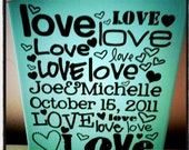 8 inch x 10 inch Wedding LOVE Canvas with Couple's names & Wedding / Anniversary Date - Great Gift