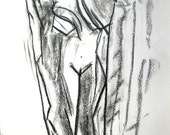 Original, Zofia standing nude, Abstract/Mimimalist -- drawn with charcoal (Mature)