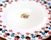 Vintage 1940s Flowers Platter Hand Painted Porcelain