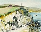 Freshwater Bay, Isle of Wight. Original plein air watercolour landscape painting, watercolor art, coast  by Elizabeth Cadd