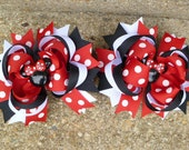 Minnie Mouse Deluxe Boutique Hair Bow Set So Cute for Disney Red White Black