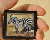 Tiny Oil Painting Of Zebra