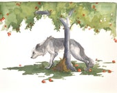 Wolf and the Apple Tree Original Watercolor Painting 8x10 FREE SHIPPING