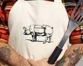Butcher Apron Screen Printed Meat Cut Chart