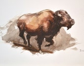 Charging Bison Origina Watercolor 8x10 FREE SHIPPING