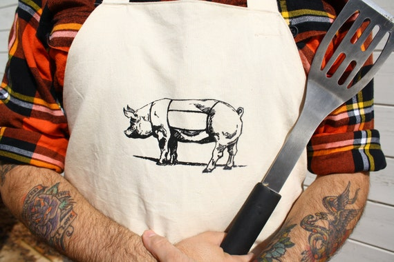 Butcher Apron Screen Printed Meat Cut Chart