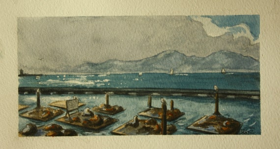 Seal Harbor Painting Watercolor 5x10