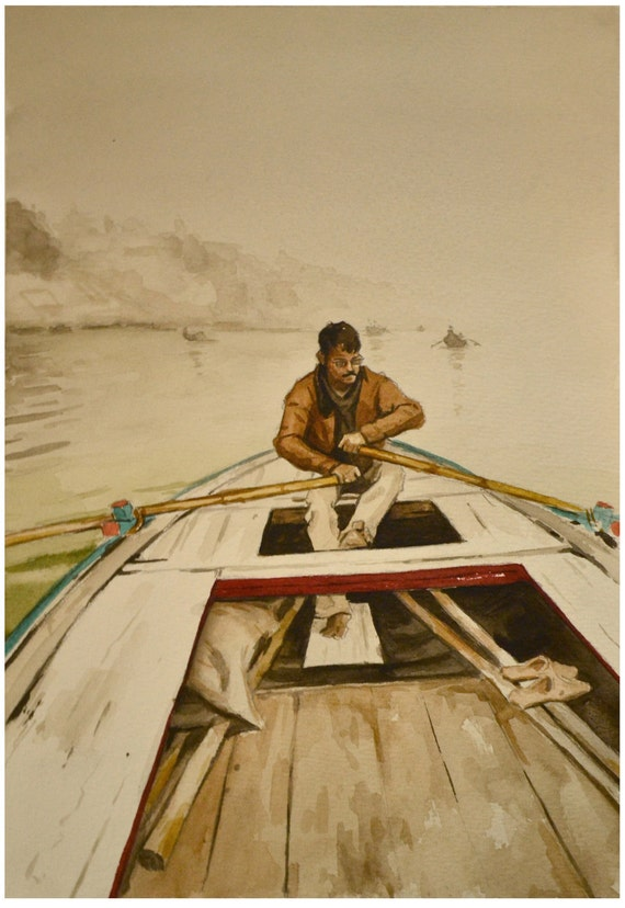 Boat Painting India Ganges Watercolor 10x14 FREE SHIPPING