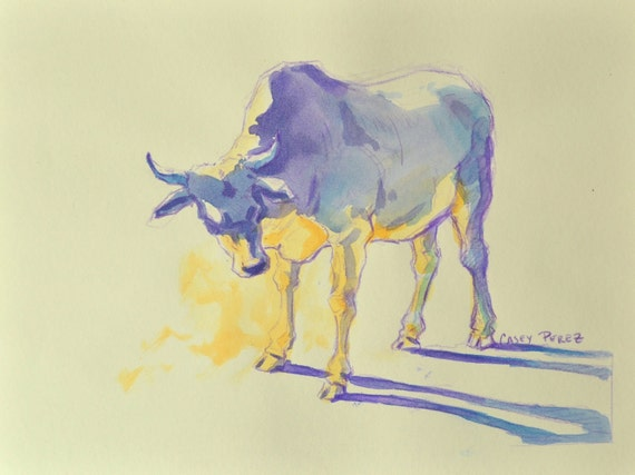 Indian Cow Painting Watercolor Original 9x12