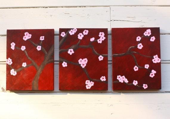 Cherry Blossom Painting Original Three 11x14 Panels Acrylic