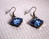 Blue Diamond-Shaped Jewel Dangle Earrings