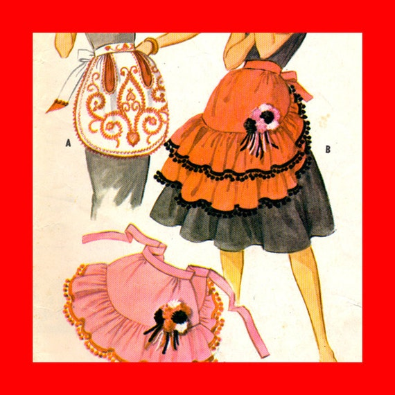 Apron Pattern . . . Absolute FROU-FROU . . .Printed, Vintage, Retro, Full-sized, 1950s