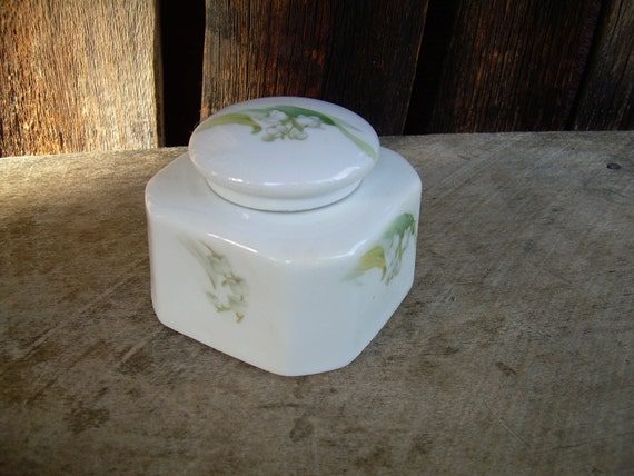 RESERVED FOR PHYLLIS German Porcelain Inkwell With Tiny White Flowers