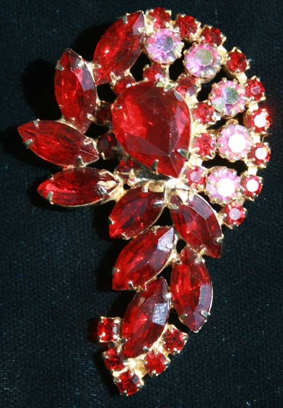 Vintage Red and AB Juliana Style Brooch and Earrings
