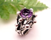 Amethyst Ring Purple Viola Sterling Silver