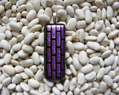 Dichroic glass pendant pink, free necklace - purple in color with a brick type pattern