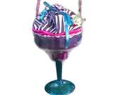 Martini Purse, Black and White Zebra Stripe, Pink, Margarita Bag
