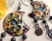 Lizard cloisonne enamel copper earrings in mustard colors: FREE SHIPPING WORLDWIDE