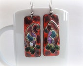 Paisley Pattern Cloisonne enamel earrings on red copper grownd: FREE SHIPPING WORLDWIDE