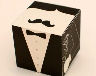Mr. Moustache Modish printable DIY gift box fun packaging, favor box, cupcake box, small mini gift box, INSTANT DOWNLOAD
