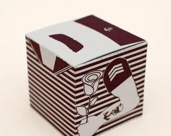 Mr. Moustache Mariner printable DIY gift box fun packaging, favor box, cupcake box, small mini gift box, INSTANT DOWNLOAD