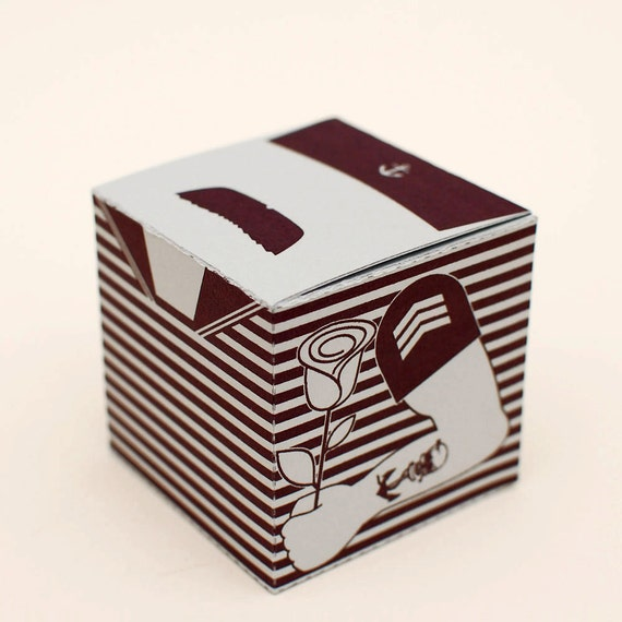Mr. Moustache Mariner printable DIY gift box fun packaging, favor box, cupcake box, small mini gift box, INSTANT DOWNLOAD