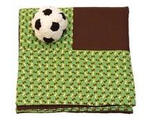 Green & Brown Dog Bone Print Dog Blanket