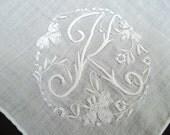 Lovely White Linen Handkerchief Monogram Initial Letter  K  White on White