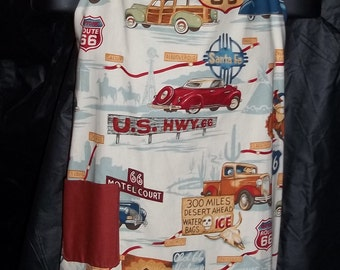 Unisex Route 66 Apron in Beige Historic Highway Fabric  by Alexander Henry