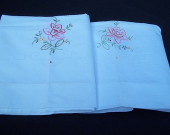Set of Two Unused White Pillowcases with Original Tag Hand Embroidered Flower