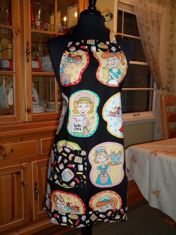 Retro Diner Apron  Waitresses Rule in This Fun Elizabeths Studio Fabric