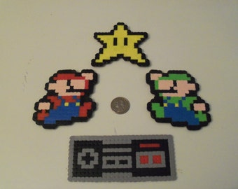 Mario and Luigi Perler Bead Ornament Set (4 Piece) - nintendo
