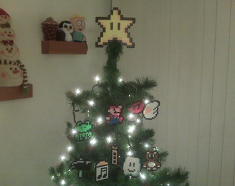 10 piece) Super Mario Bros Star Perler Bead Christmas Tree Topper - nintendo