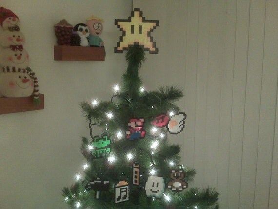 10 Piece) Super Mario Bros. Perler Bead Star Christmas Tree Topper and Ornament Set