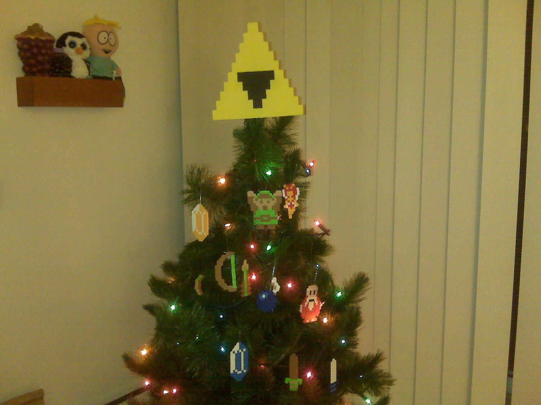 Legend Of Zelda Perler Bead Triforce Christmas Tree Topper and
